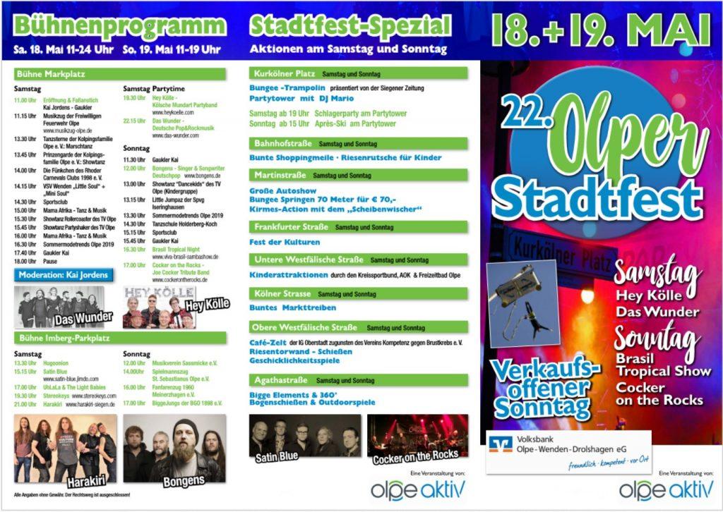 Flyer Stadtfest Olpe 2019